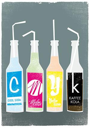 CMYK bottles with RGB lemonade